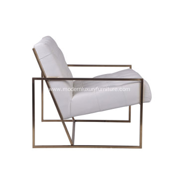 Modern Indoor Lounge Chair with Gold Plated Frame