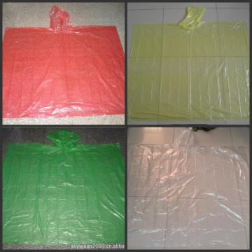 Disposable PE rain poncho with customized printed logo