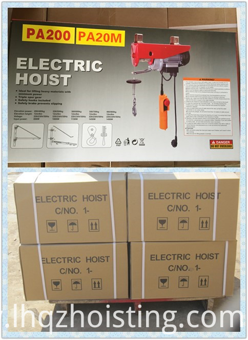 PA mini electric wire rope hoist color box