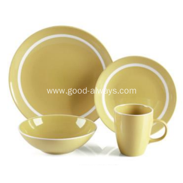 16 Piece Stoneware Dinner Set Yellow Color With White Rim