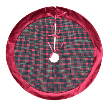 Red plaid christmas tree skirt with red velvet border