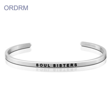 Custom Engraved Friendship Sister Cuff Bracelet