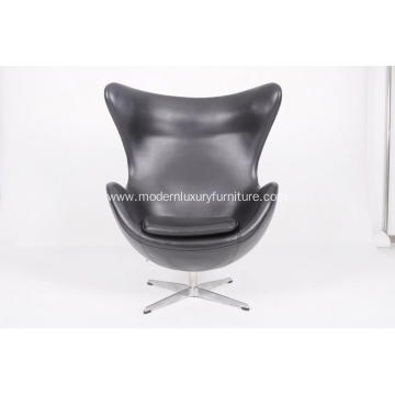 Leather egg chair in black