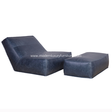 Verzelloni Zoe Leather Armchair with Ottoman