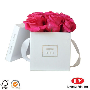 Square Flower Gift Hat Box with Ribbon Handle
