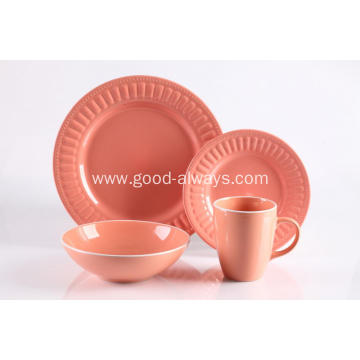 16 Pieces Embossed Stoneware Dinnerware Set Pink