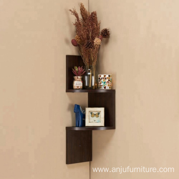 small 3 tier wooden  zigzag  corner shelves    Small wooden 3 tier corner shelves design