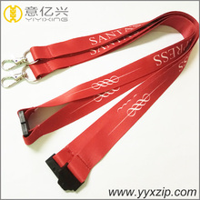 safety release buckle ribbon lanyard with carabiner