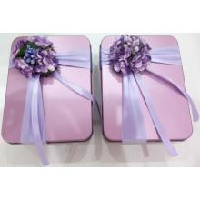 Pink Rectangular Tin Box for Chocolate Packaging