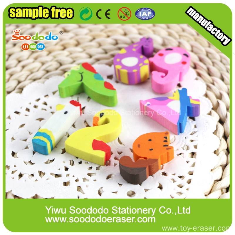 Number animal shape Extruded Eraser promotion stationery