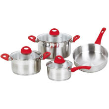 7 Pieces Cookware Set with Red Handles