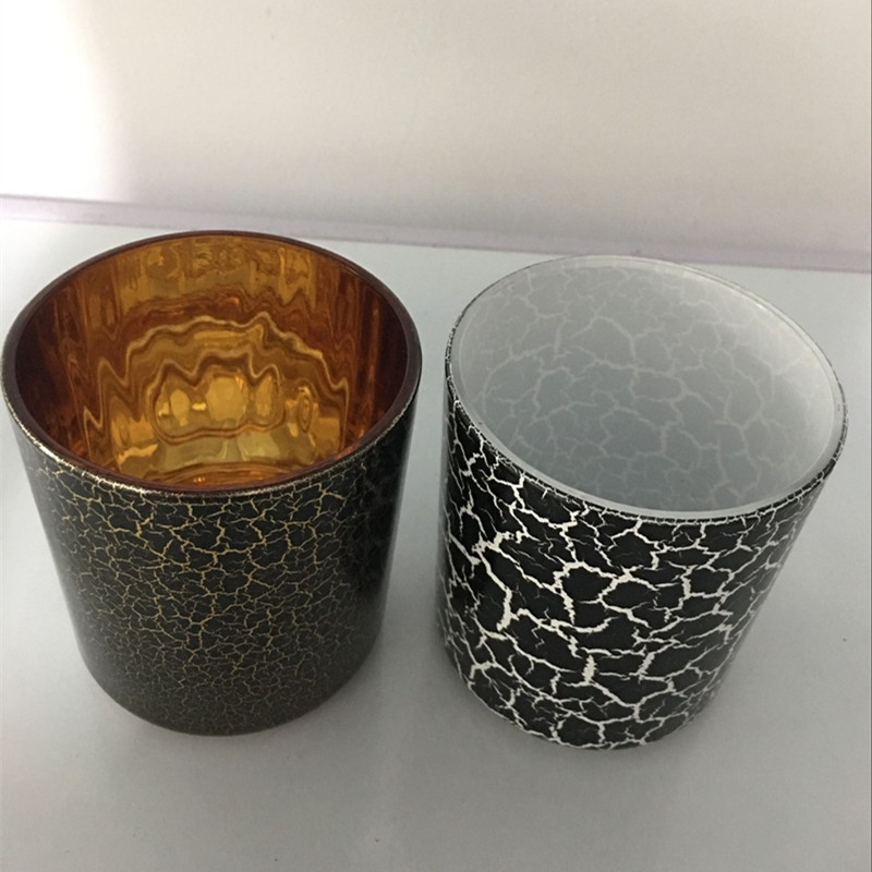 Crackled Effect Glass Candle Jars