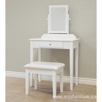 Wood Makeup Dressing Table Stool Set Bathroom with Mirror
