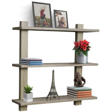 3 Tier Grey Floating Shelf Asymmetric Square Wall Shelf Decorative Hanging Display Wall Mounted Hanging Shelf