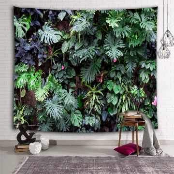 Green Leaves Wall Tapestry Tropical Plants with Flower Nature Tapestry Wall Hanging for Livingroom Bedroom Dorm Home Decor