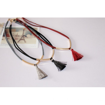 OEM manufacturer custom for Black Pu Leather Tassel Suede Necklace With Metal Tube Silk Tassel Choker export to China Factory