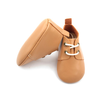 Leather Oxford Baby Toddler Shoes with Tan color