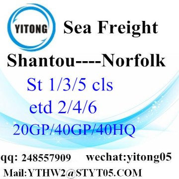 Shantou Sea Freight Shipping Service to Norfolk