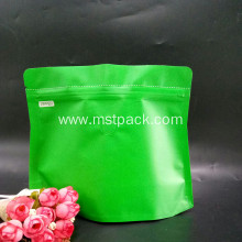 Green Stand Up Pouches With Degassing Valve