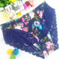 China wholesale sexy women underwear printed floral light green sexy briefs lace spandex fancy panty 6893