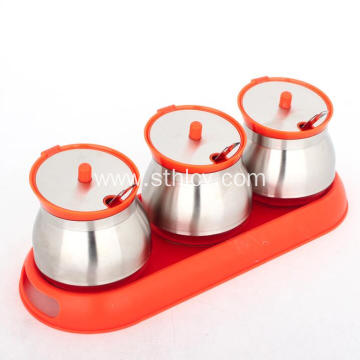 Stainless Steel Condiment Containers with Lids and Spoons