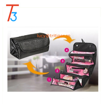 Black Oxford Travel Cosmetic Bag As Seen On TV Letters Printing Roll N Go Cosmetic Bag