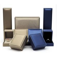 Blue Square Fake Leather Jewelery Box