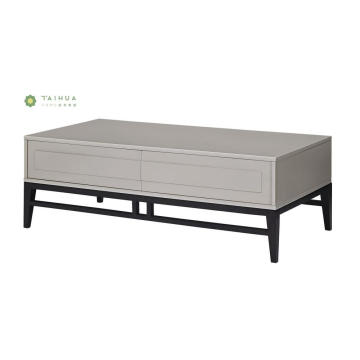 Black Solid Wood Coffee Table with White Drawers