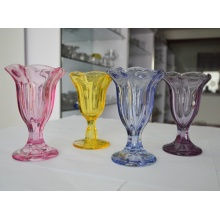 Flower Shape Transparent Glass Ice Cream Cup