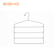 China for China Non Slip Hangers,Fabric Covered Hangers,Fabric Covered Coat Hangers Manufacturer and Supplier EISHO Foldable Multi-layer Metal Rope Scarf Hangers supply to India Exporter