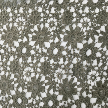 Mat Poly Piece Dyed Chemical Lace Embroidery Fabric