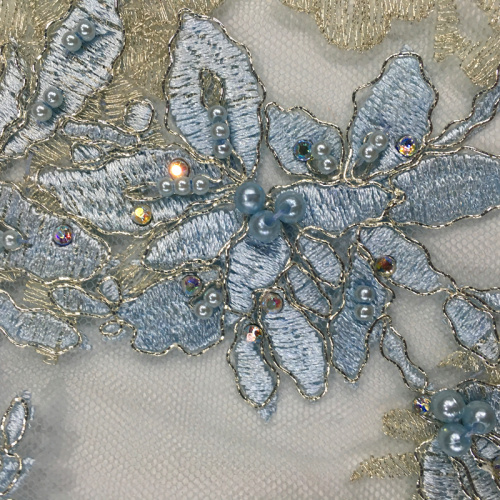 Multi-color Embroidery With Pearl On Poly Mesh Fabric