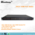 24chs Industry-grade Double fiber port POE switch