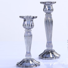 Smoke Gray Long-stemmed Glass Candle Holder