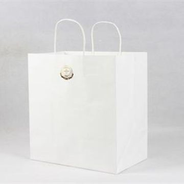 120gsm white kraft shopping paper bags with handle