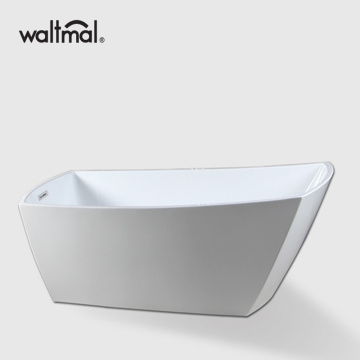 Modern Slipper Soaking White Acrylic Bathtub