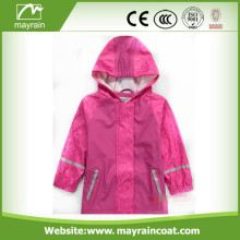 Lovely Pink PU Kids Raincoat