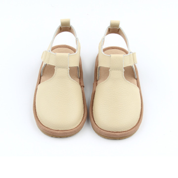 New Style Beige White Leather Kids Sandals
