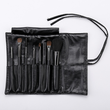 Black PU bag with 7 make up brushes