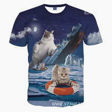 Titanic couple cat printing beach shirt