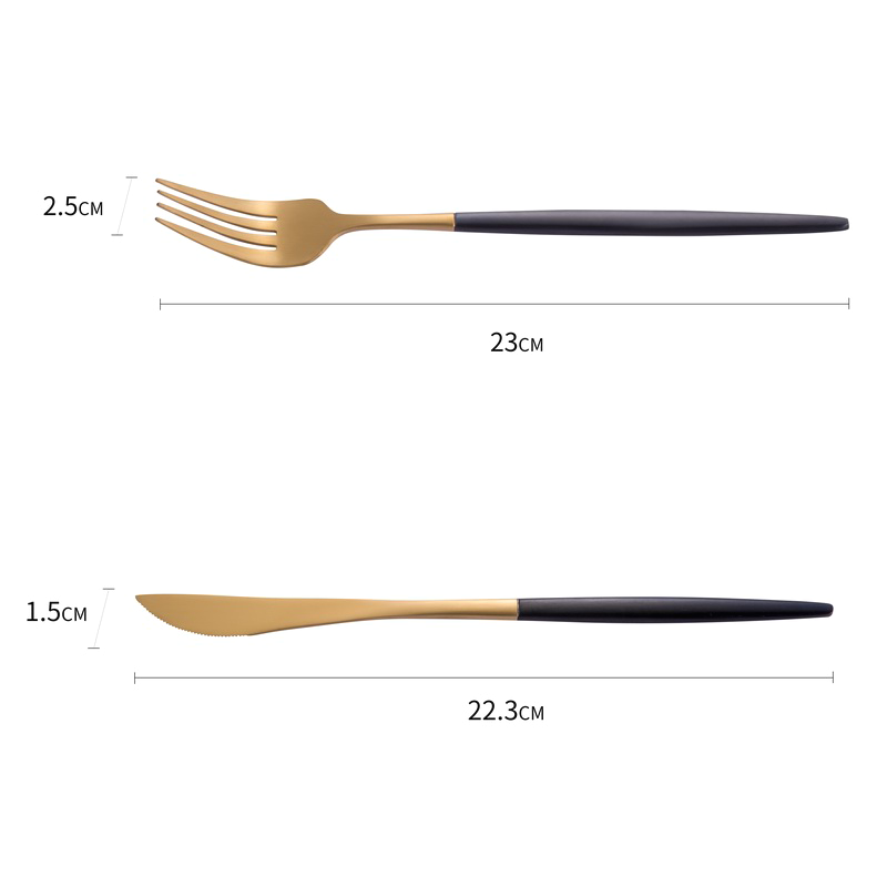 Copper Plated Stainless Steel Knife Fork Spoon Flatware
