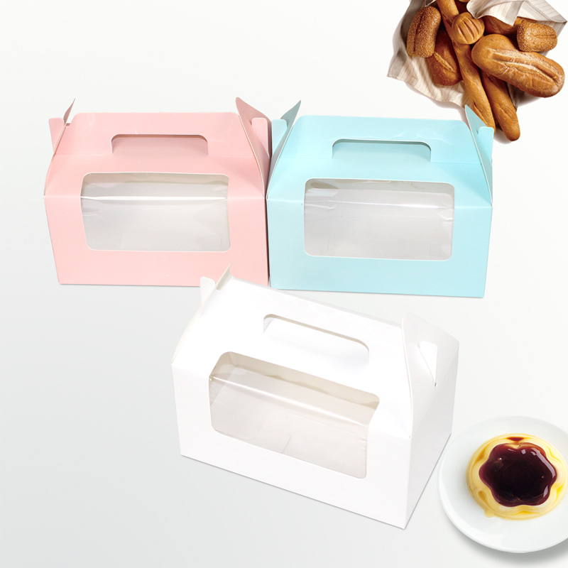 Paper cupcake box holds 2 with handle