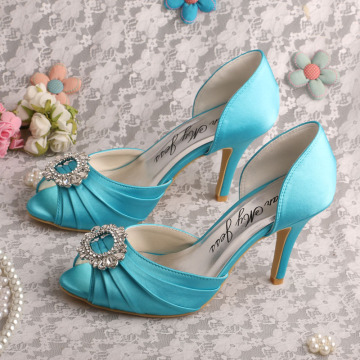Customized Satin Teal Wedding Shoes Prom Open Toe