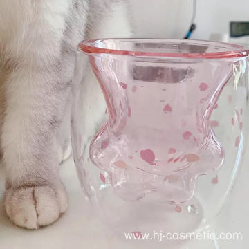 2019 hottest transparent high borosilie cat paw cup