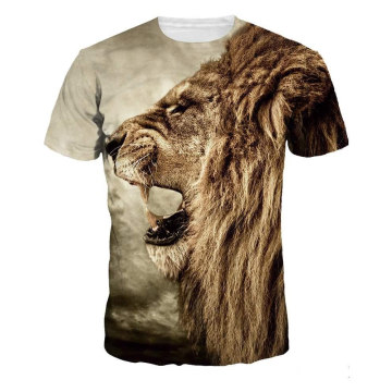 Lion print beach round neck tshirt