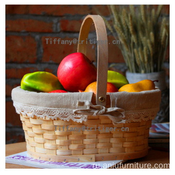 Single handle storage bread wood chip basket
