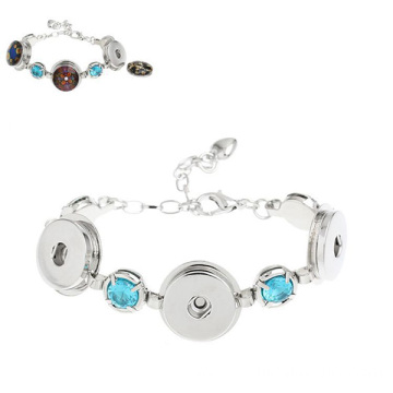 Silver Color Chain Bracelet Noosa Button Crystal Bracelet