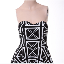 The irregular big bang color stripe wrapping bosom lovely sexy nightclub short dress ball skirt 6929 black