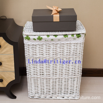 Decorative rectangular willow woven laundry basket home storage
