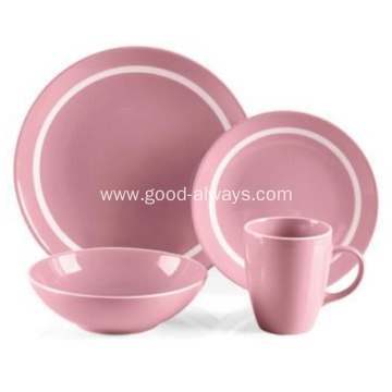 16 Piece Stoneware Dinner Set Pink Color With White Rim